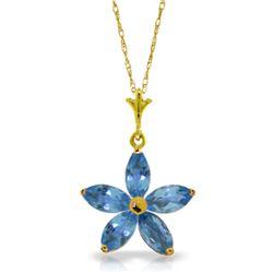 Genuine 1.40 ctw Blue Topaz Necklace Jewelry 14KT Yellow Gold - REF-25X8M