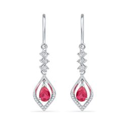 0.61 CTW Pear Created Ruby Diamond Dangle Earrings 10KT White Gold - REF-18W2K