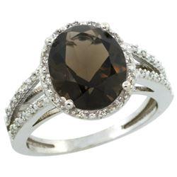 Natural 3.47 ctw Smoky-topaz & Diamond Engagement Ring 14K White Gold - REF-46M3H