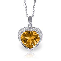 Genuine 3.24 ctw Citrine & Diamond Necklace Jewelry 14KT White Gold - REF-59N3R