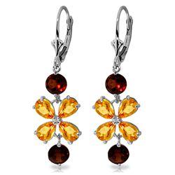 Genuine 5.32 ctw Citrine & Garnet Earrings Jewelry 14KT White Gold - REF-50Y3F