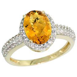 Natural 1.91 ctw Whisky-quartz & Diamond Engagement Ring 10K Yellow Gold - REF-31X4A