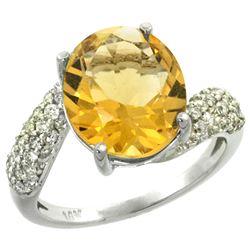 Natural 6.45 ctw citrine & Diamond Engagement Ring 14K White Gold - REF-54W3K