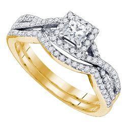0.63 CTW Princess Diamond Bridal Engagement Ring 14KT Yellow Gold - REF-97W4K