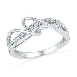0.10 CTW Diamond Ring 10KT White Gold - REF-16W4K