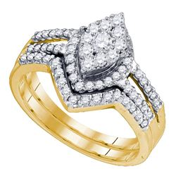 0.74 CTW Diamond Oval Cluster Bridal Engagement Ring 10KT Yellow Gold - REF-64H4M