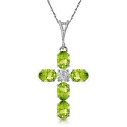 Genuine 1.88 ctw Peridot & Diamond Necklace Jewelry 14KT White Gold - REF-39N8R