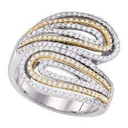 0.74 CTW Diamond Bypass Fashion Ring 10KT Two-tone Gold - REF-59K9W