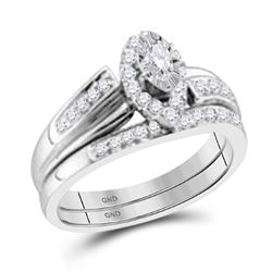0.32 CTW Marquise Diamond Bridal Engagement Ring 14KT White Gold - REF-59X9Y