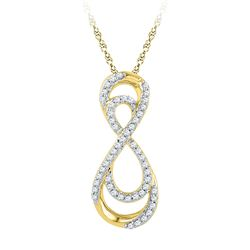 0.20 CTW Diamond Double Infinity Pendant 10KT Yellow Gold - REF-18Y2X