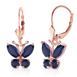 Genuine 1.24 ctw Sapphire Earrings Jewelry 14KT Rose Gold - REF-42Z9N