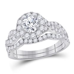 1.75 CTW Diamond Bridal Wedding Engagement Ring 14KT White Gold - REF-292Y5X
