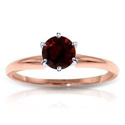Genuine 0.65 ctw Garnet Ring Jewelry 14KT Rose Gold - REF-26Y9F