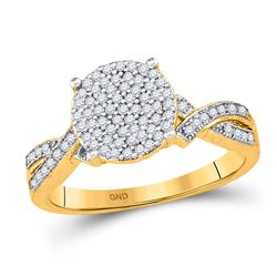 0.28 CTW Diamond Circle Cluster Ring 10KT Yellow Gold - REF-24N2F