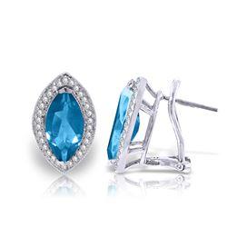 Genuine 4.8 ctw Blue Topaz & Diamond Earrings Jewelry 14KT White Gold - REF-103Z3N