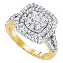 1 CTW Princess Diamond Cluster Bridal Engagement Ring 14KT Yellow Gold - REF-119Y9X