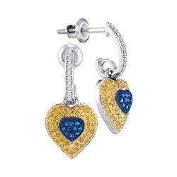 0.33 CTW Blue Yellow Color Diamond Heart Dangle Earrings 10KT White Gold - REF-34N4F