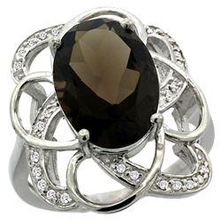 Natural 5.59 ctw smoky-topaz & Diamond Engagement Ring 14K White Gold - REF-59M6H
