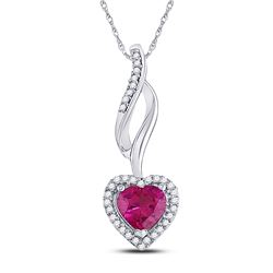1.14 CTW Created Ruby Solitaire Heart Pendant 10KT White Gold - REF-12K2W