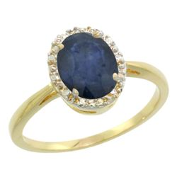 Natural 1.49 ctw Blue-sapphire & Diamond Engagement Ring 10K Yellow Gold - REF-26F8N