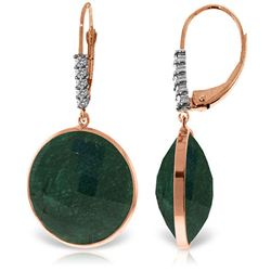 Genuine 46.15 ctw Green Sapphire Corundum & Diamond Earrings Jewelry 14KT Rose Gold - REF-78Y3F