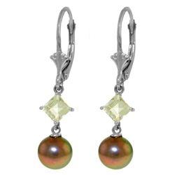 Genuine 5 ctw Pearl & Aquamarine Earrings Jewelry 14KT White Gold - REF-32R2P