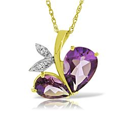 Genuine 4.06 ctw Amethyst & Diamond Necklace Jewelry 14KT Yellow Gold - REF-59N2R