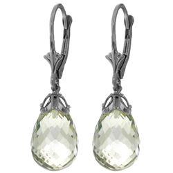 Genuine 14 ctw Green Amethyst Earrings Jewelry 14KT White Gold - REF-34N3R