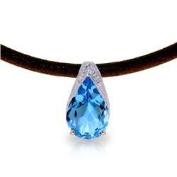 Genuine 6 ctw Blue Topaz Necklace Jewelry 14KT Rose Gold - REF-30Z5N