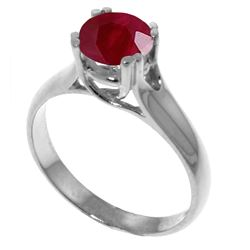 Genuine 1.35 ctw Ruby Ring Jewelry 14KT White Gold - REF-61Z2N
