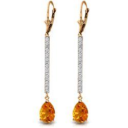 Genuine 3.6 ctw Citrine & Diamond Earrings Jewelry 14KT Rose Gold - REF-60Z4N
