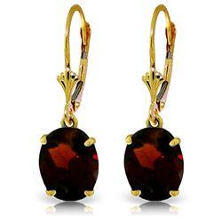 Genuine 6.25 ctw Garnet Earrings Jewelry 14KT Yellow Gold - REF-44P3H