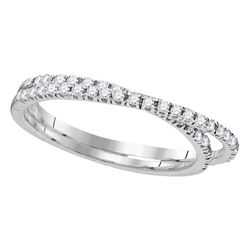 0.25 CTW Diamond Double Row Crossover Ring 10KT White Gold - REF-19W4K