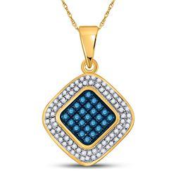 0.25 CTW Blue Color Diamond Diagonal Square Cluster Pendant 10KT Yellow Gold - REF-18F2N