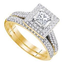 0.33 CTW Diamond Princess Halo Bridal Engagement Ring 14KT Yellow Gold - REF-116F9N