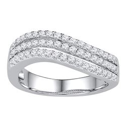 0.50 CTW Diamond Triple Row Ring 10KT White Gold - REF-52F4N
