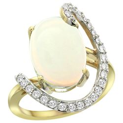 Natural 5.89 ctw Opal & Diamond Engagement Ring 14K Yellow Gold - REF-93A6V