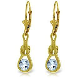 Genuine 1.30 ctw Aquamarine Earrings Jewelry 14KT Yellow Gold - REF-53Y2F