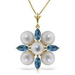 Genuine 6.3 ctw Blue Topaz & Pearl Necklace Jewelry 14KT Yellow Gold - REF-59Z2N