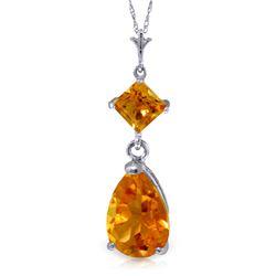 Genuine 2 ctw Citrine Necklace Jewelry 14KT White Gold - REF-24Y3F