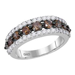 2 CTW Cognac-brown Color Diamond Ring 10KT White Gold - REF-89N9F