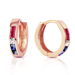 Genuine 1.28 ctw Ruby, White Topaz & Sapphire Earrings Jewelry 14KT Rose Gold - REF-39F2Z