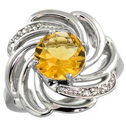 Natural 2.25 ctw citrine & Diamond Engagement Ring 14K White Gold - REF-57V8F