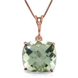Genuine 3.6 ctw Green Amethyst Necklace Jewelry 14KT Rose Gold - REF-28H9X