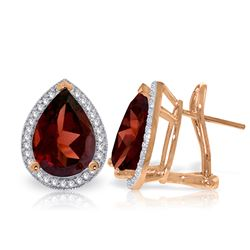 Genuine 8.12 ctw Garnet & Diamond Earrings Jewelry 14KT Rose Gold - REF-120A8K