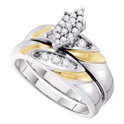 0.25 CTW Diamond Cluster Bridal Engagement Ring 14KT White Gold - REF-59F9N