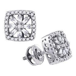 0.34 CTW Diamond Square Stud Earrings 14KT White Gold - REF-37M5H