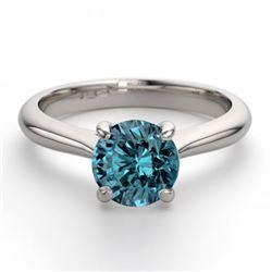 14K White Gold 0.91 ctw Blue Diamond Solitaire Ring - REF-163R2M-WJ13234