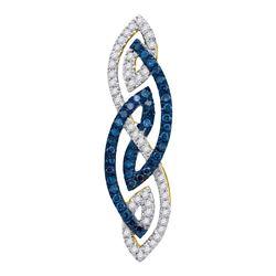 0.25 CTW Color Blue Diamond Fashion Charm Pendant 10KT Yellow Gold - REF-25M4H