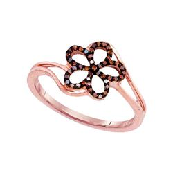 0.13 CTW Red Color Diamond Flower Floral Ring 10KT Rose Gold - REF-18X2Y